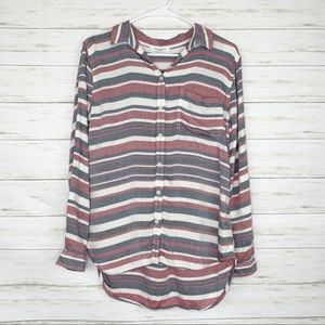 BeachLunchLounge | Striped Button Up Blouse